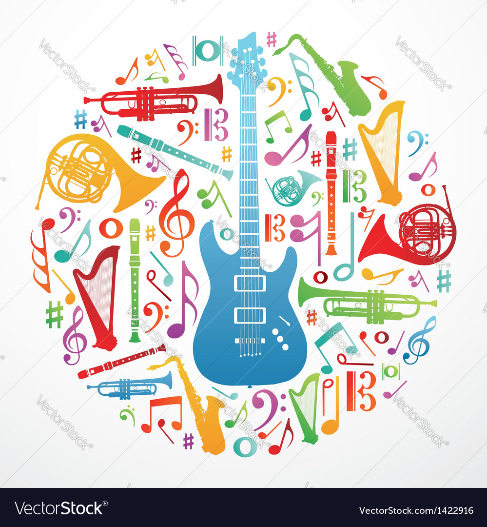 Love for music concept background vector