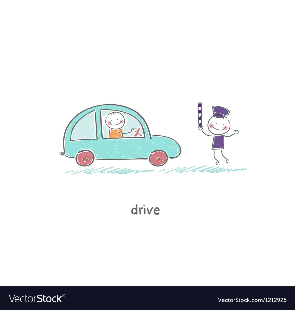 Driver and a policeman vector