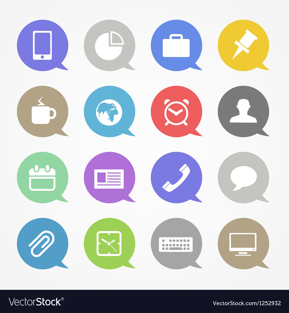 Business web icons set in color speech clouds vector
