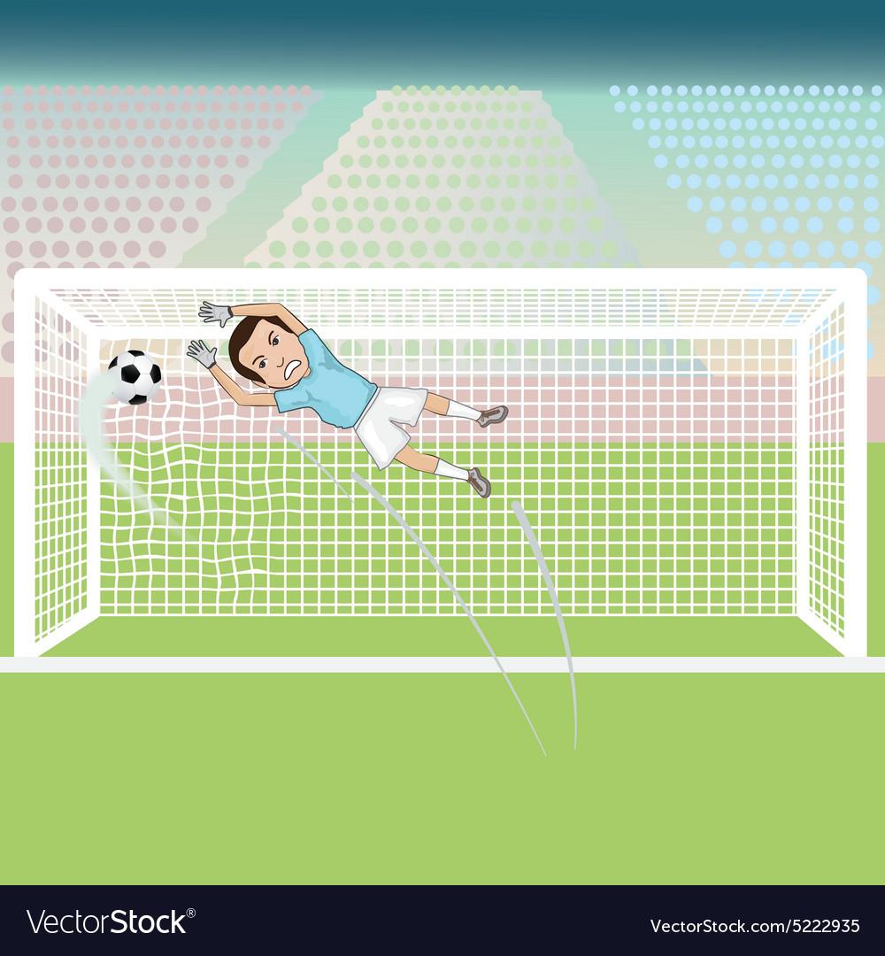 A goal keeper failed saving the soccer ball thus