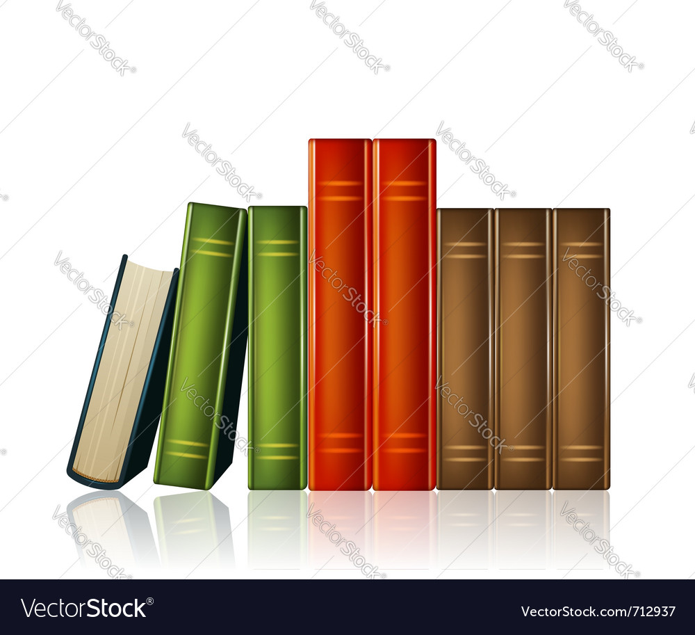 Heap of multicoloured books isolated on white bac vector
