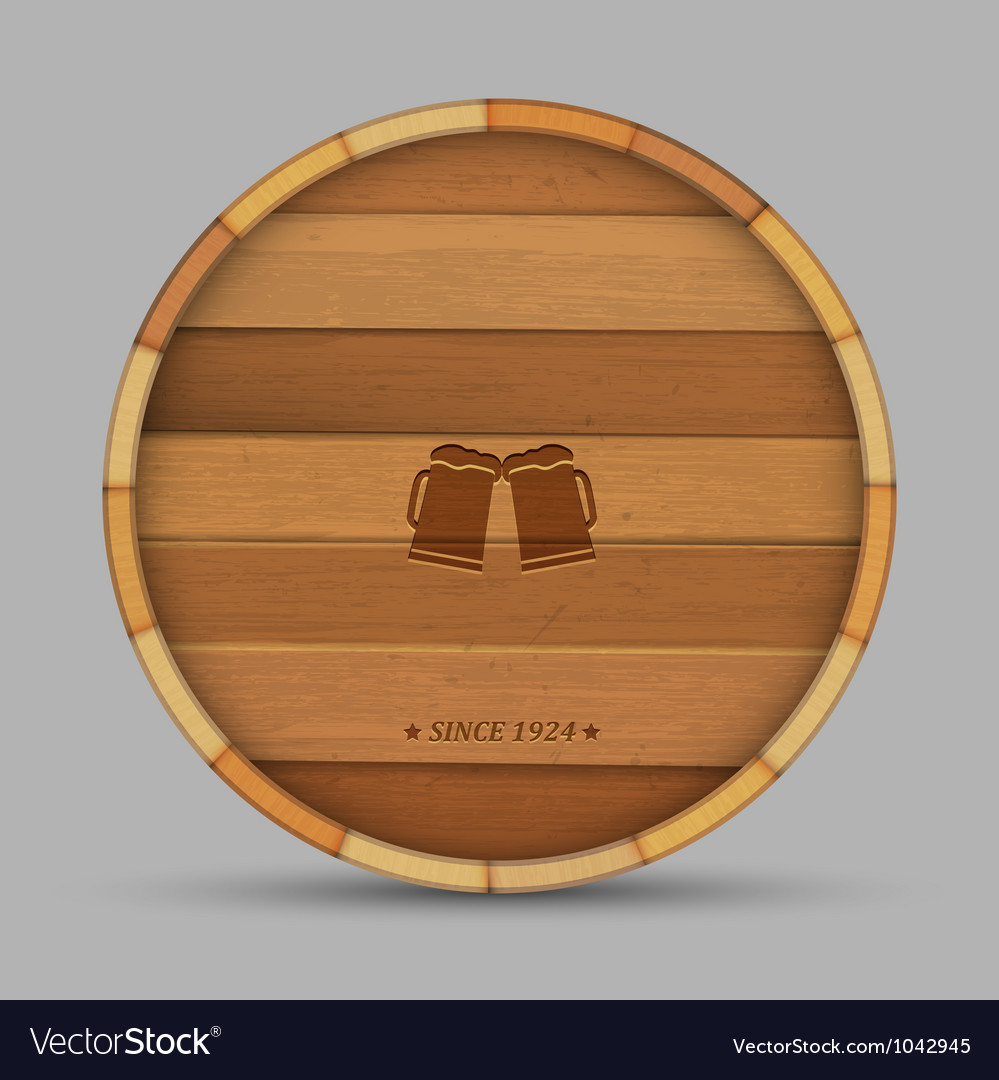 Beer label in form wooden barrel vector