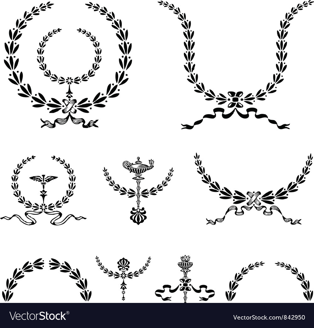 Wreath and ornament vector