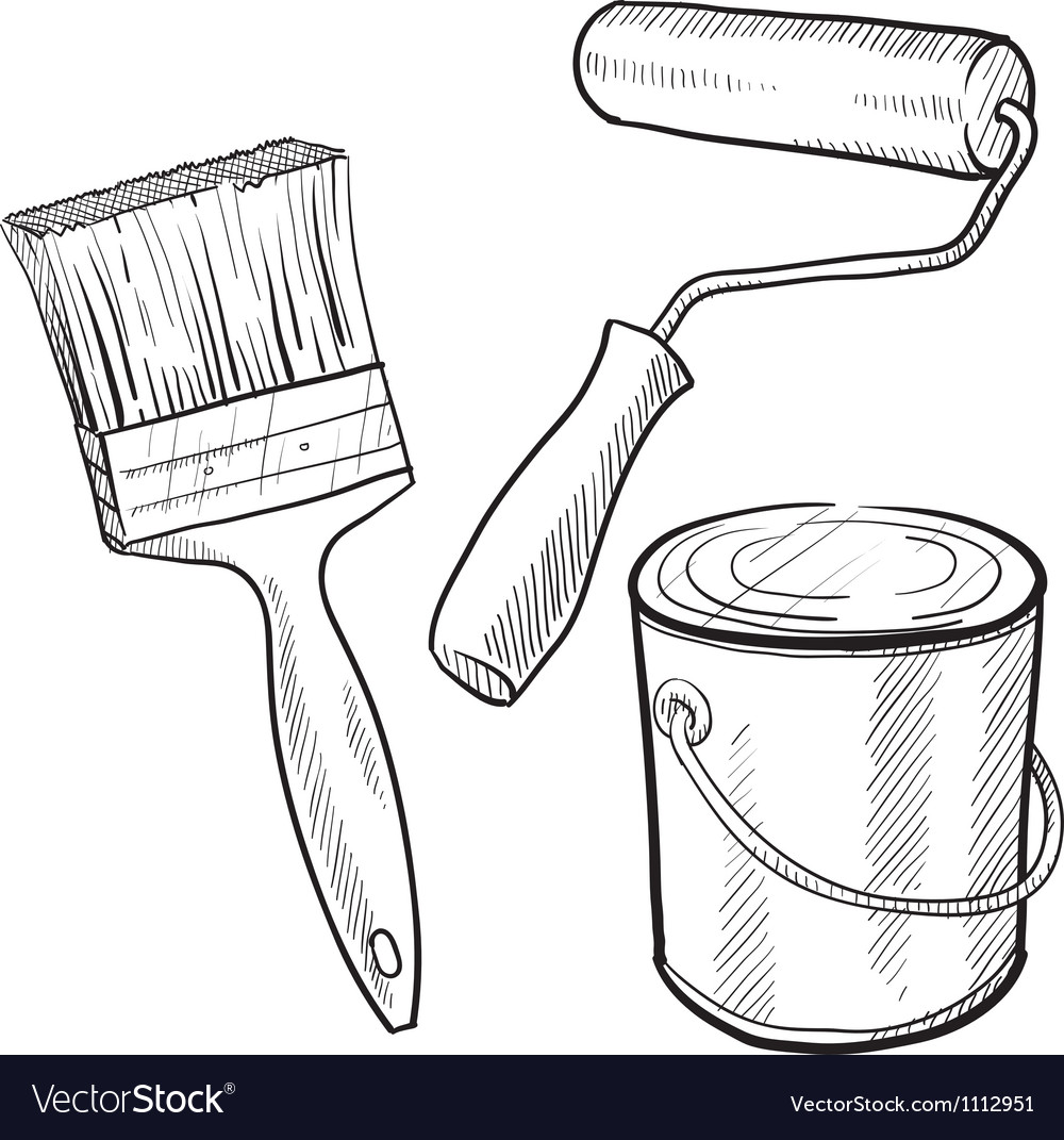 Doodle paint can brush vector