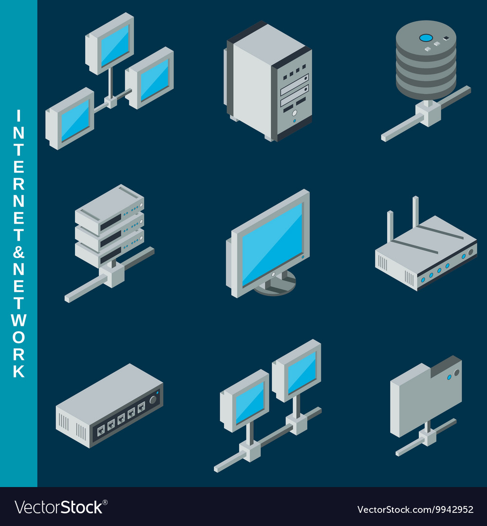Network Equipment Icons : Internet and network equipment icons vector by ulvur