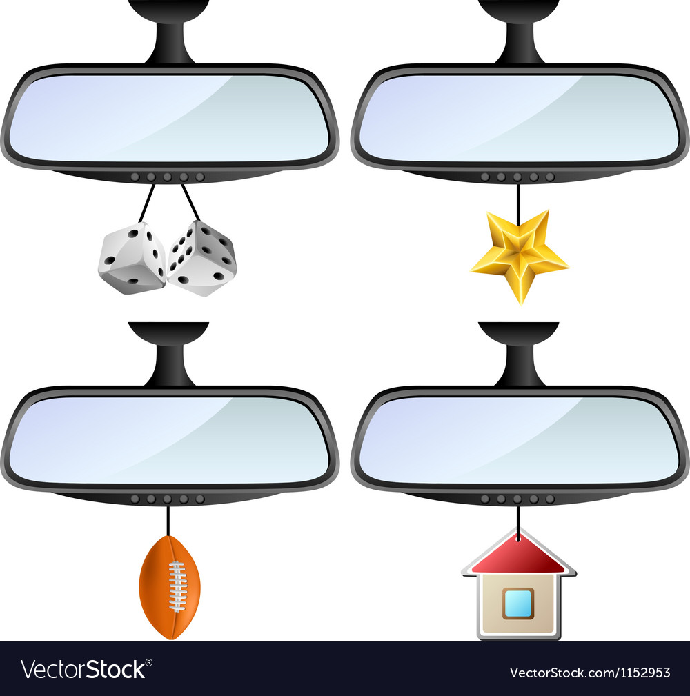 Car mirror set with different decorations vector