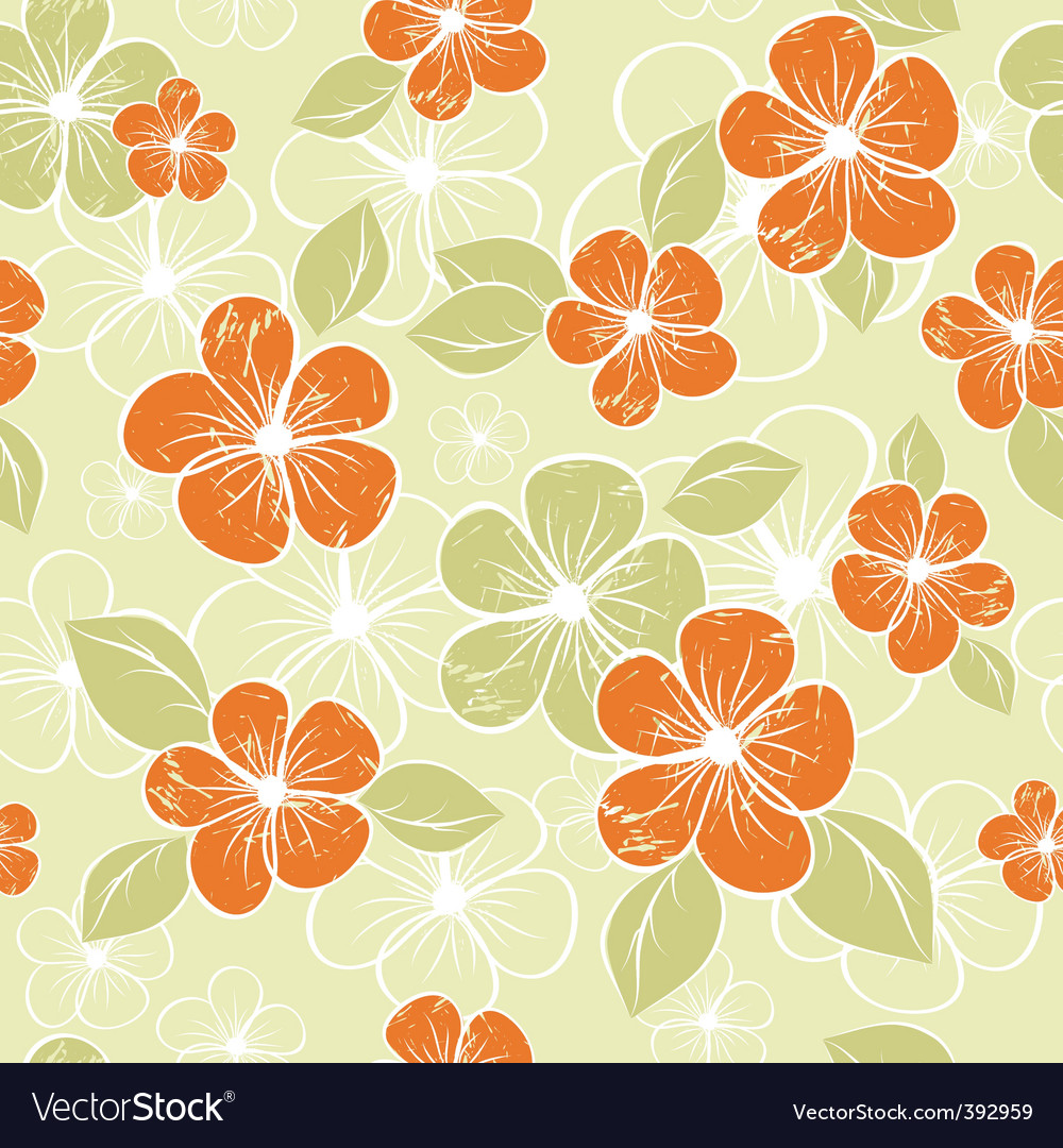 Tropical seamless floral background vector