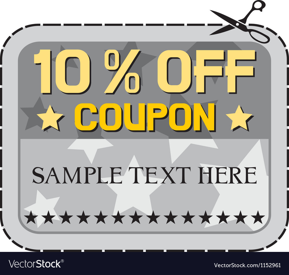 Coupon sale ten percent discount vector