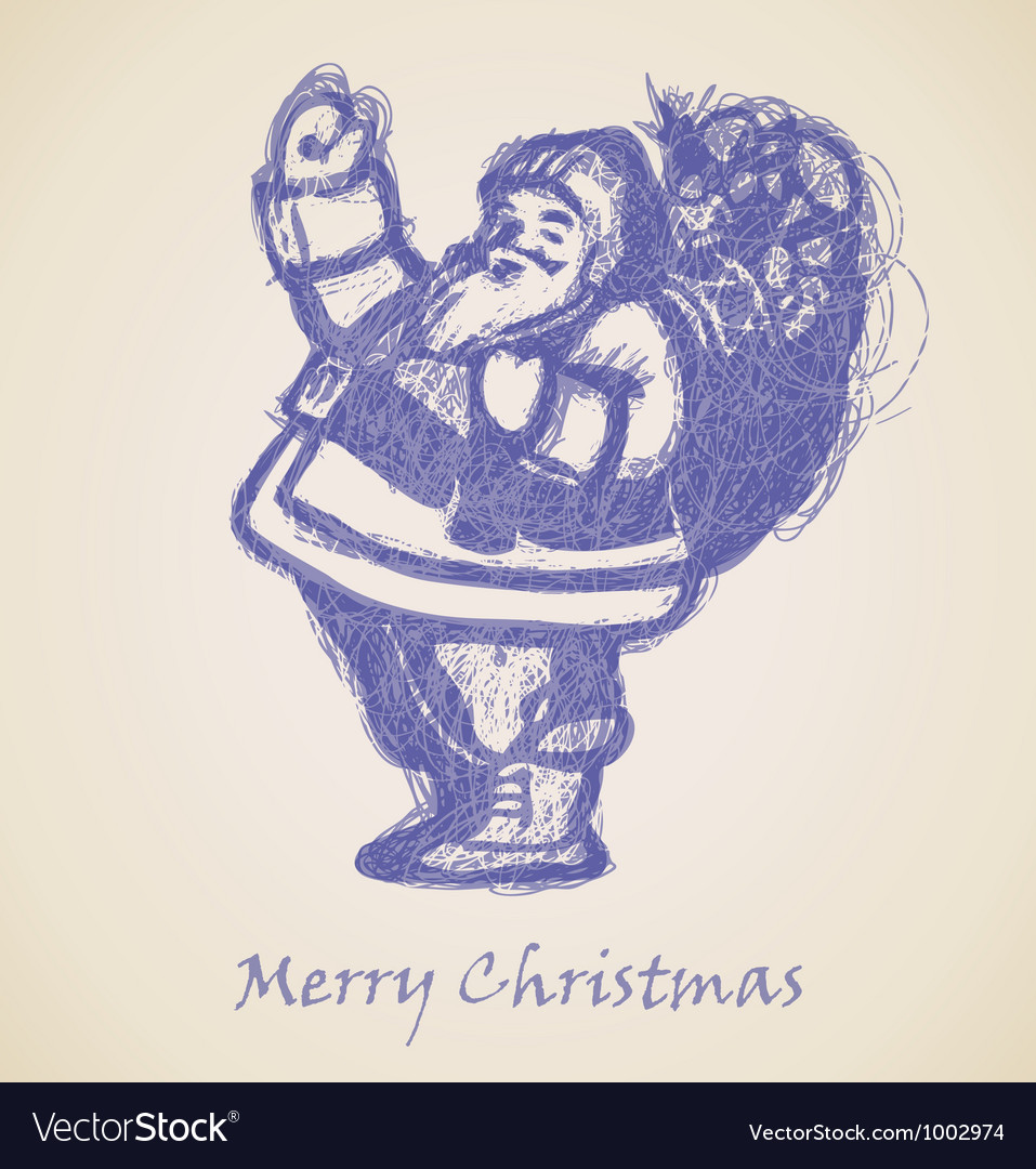 Blue santa claus sketch vector
