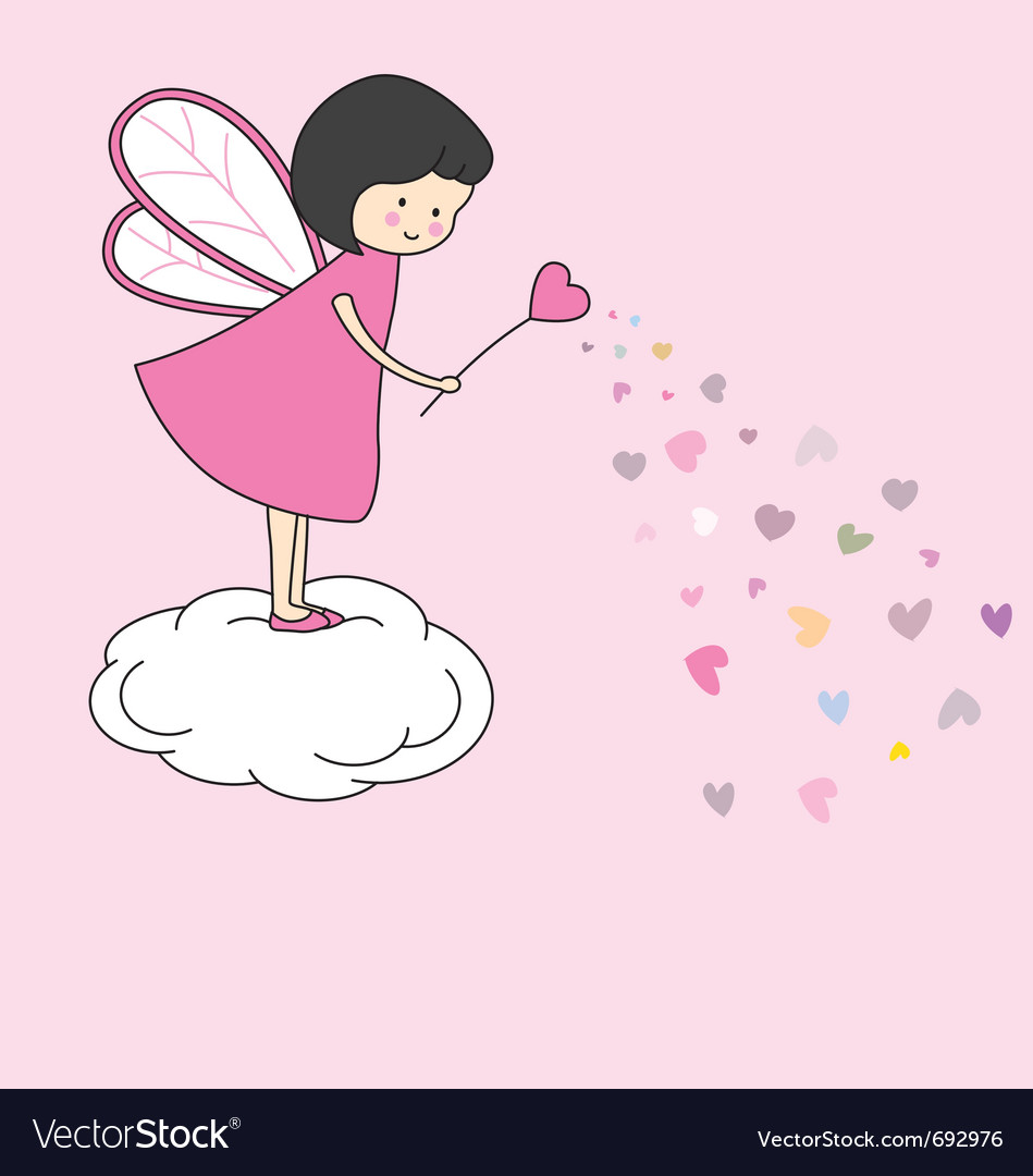 Fairy with magic wand vector