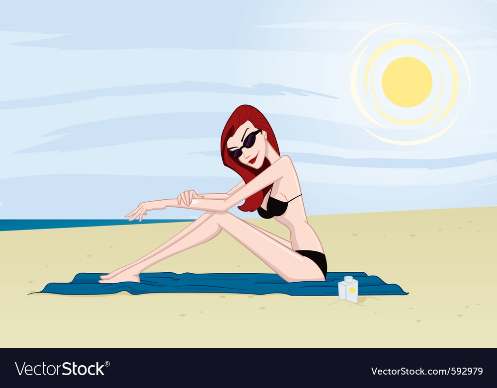 Girl on beach 2 vector