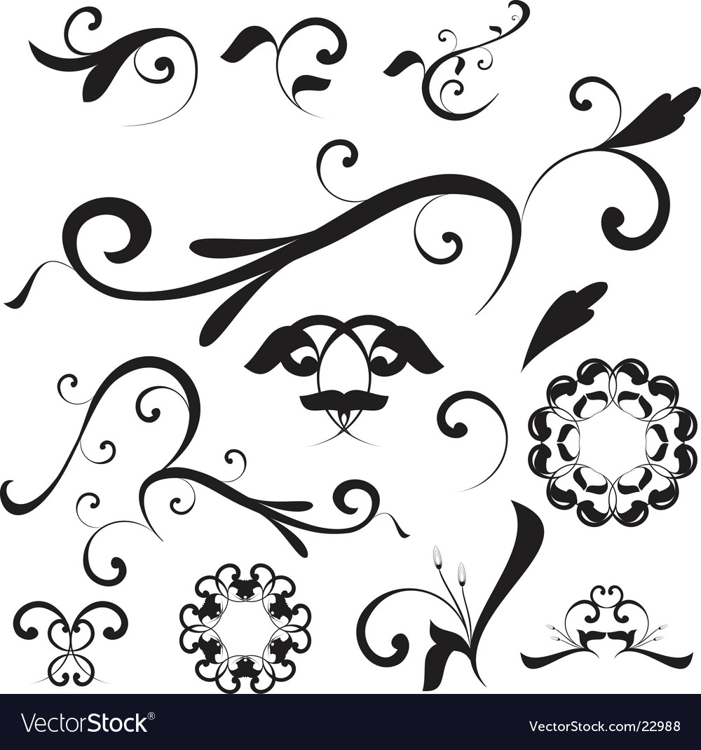 Free floral shapes and ornaments vector