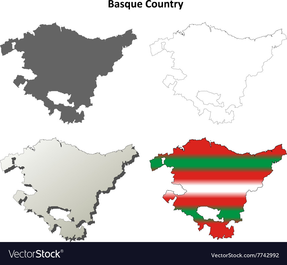 Basque country outline map set basque version