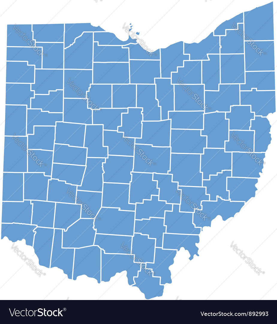 State map of ohio by counties vector