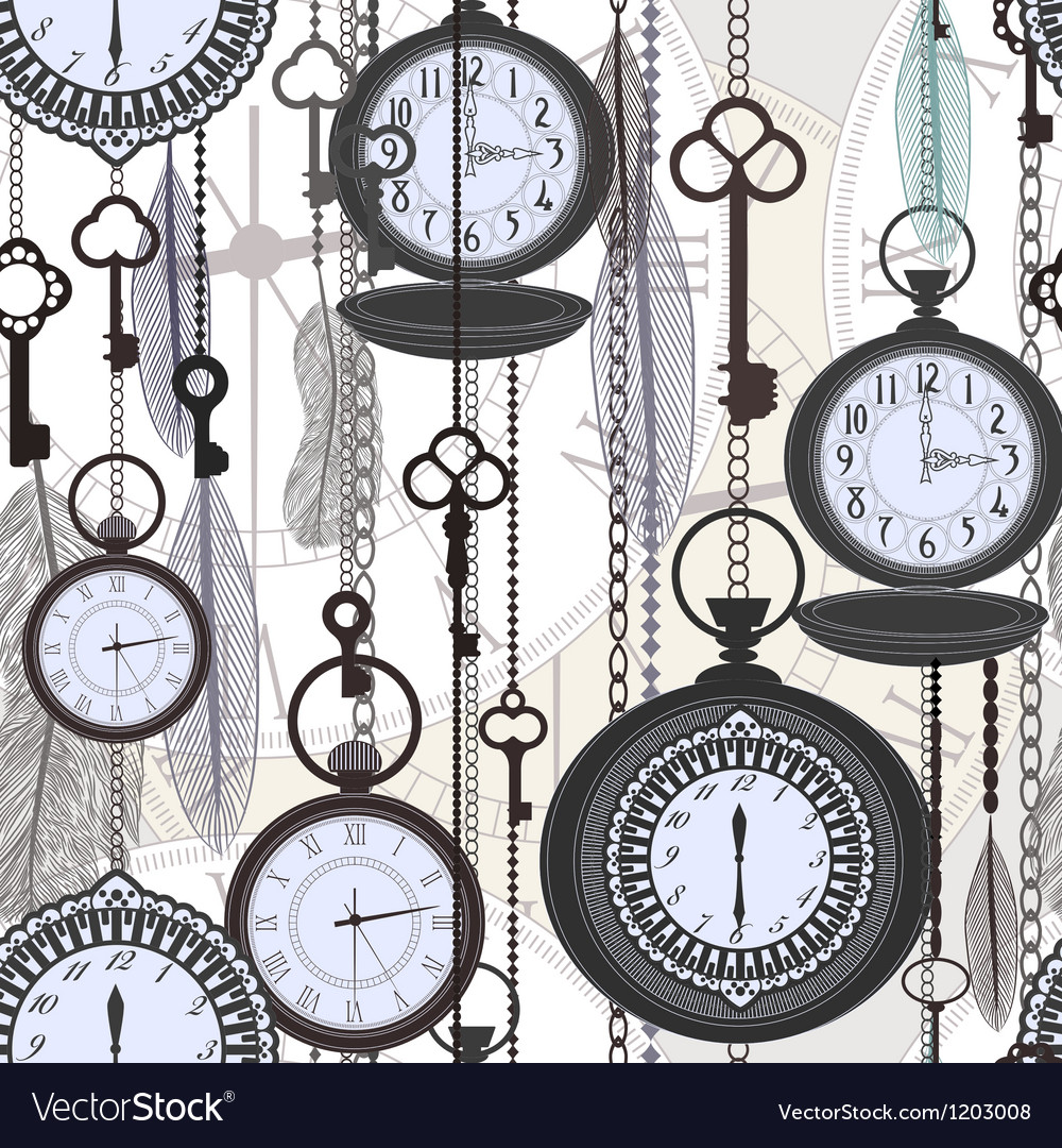 Vintage seamless pattern with watches feathers and vector