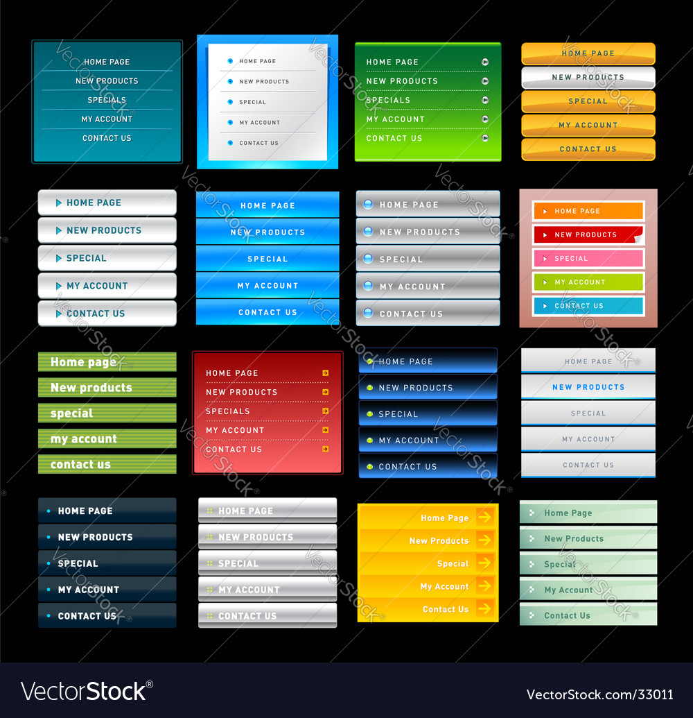 Vertical web menus vector