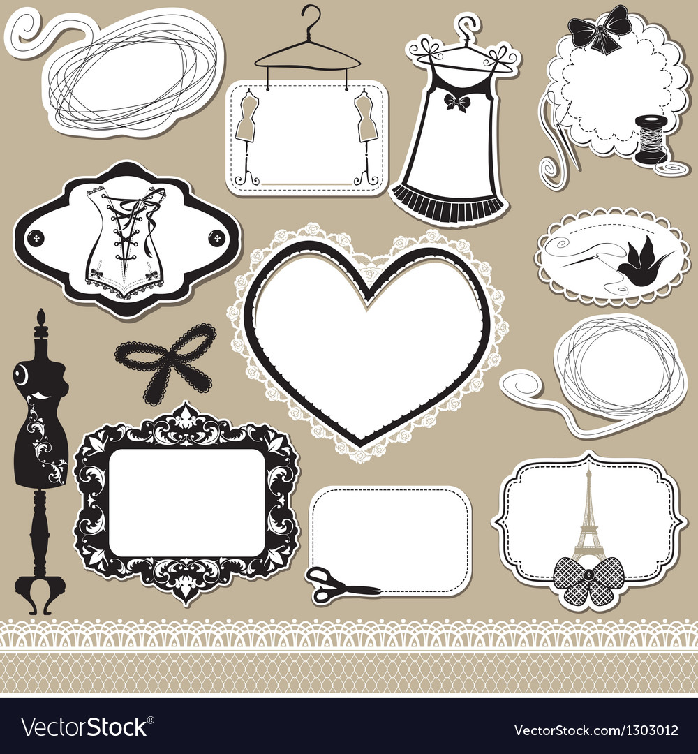 Set of frames symbols tools and accessories vector