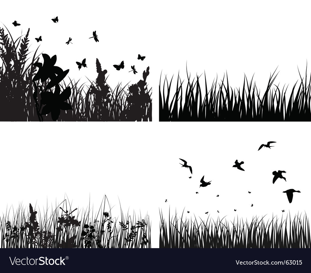 Meadow silhouettes set vector