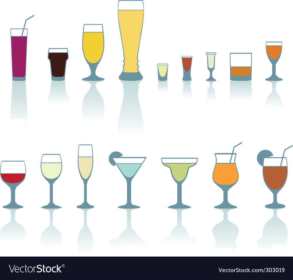 Set of cold drink glasses vector
