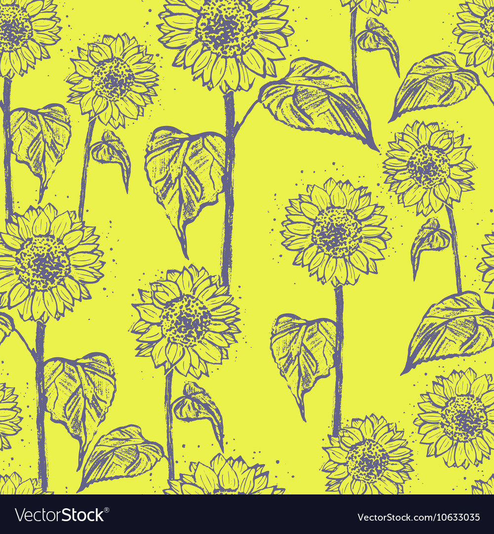 Ink hand drawn sunflowers seamless pattern