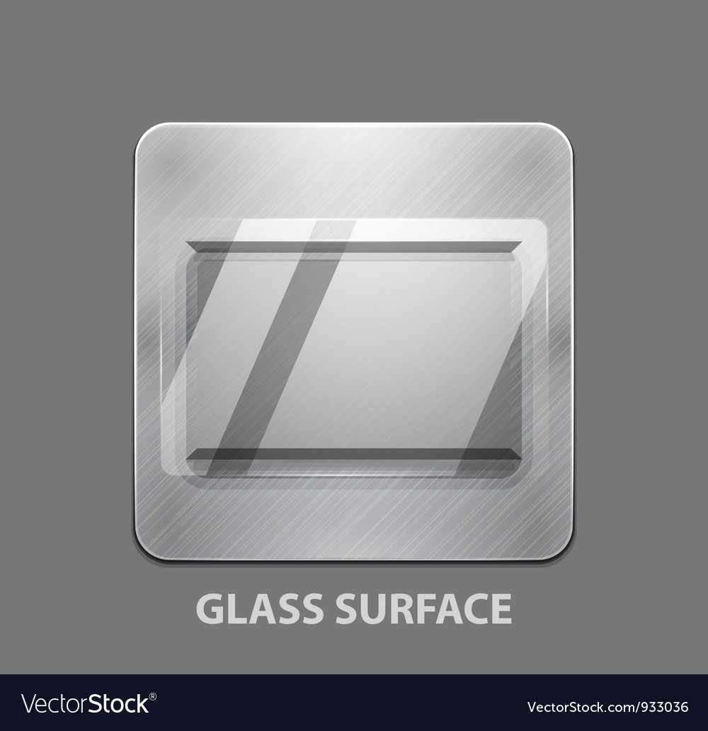 Metal app button with glass surface vector