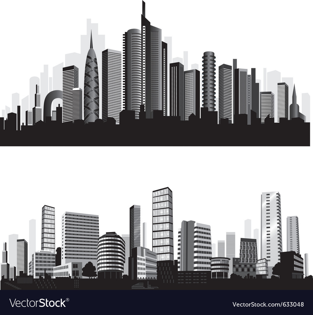 City silhouettes vector