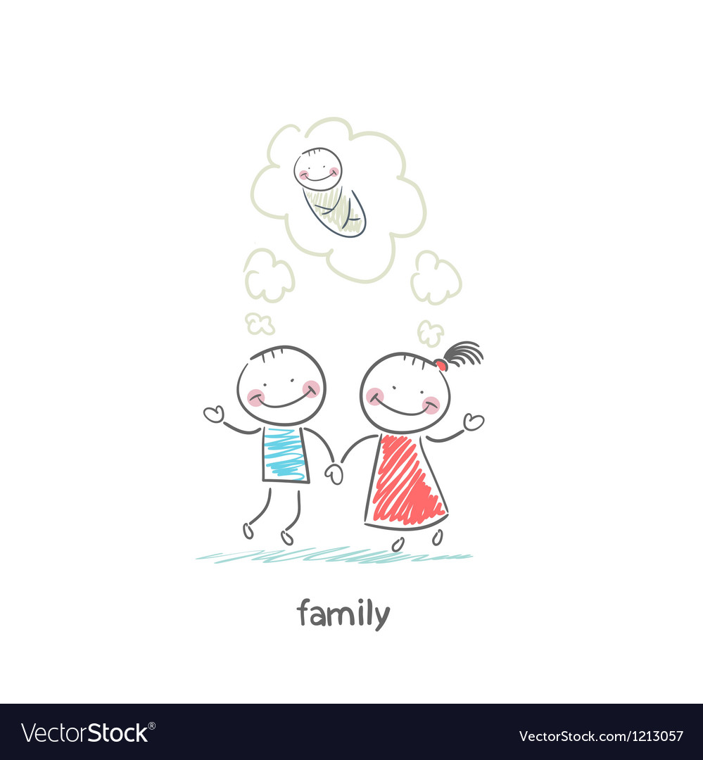 Happy family is waiting for the birth vector