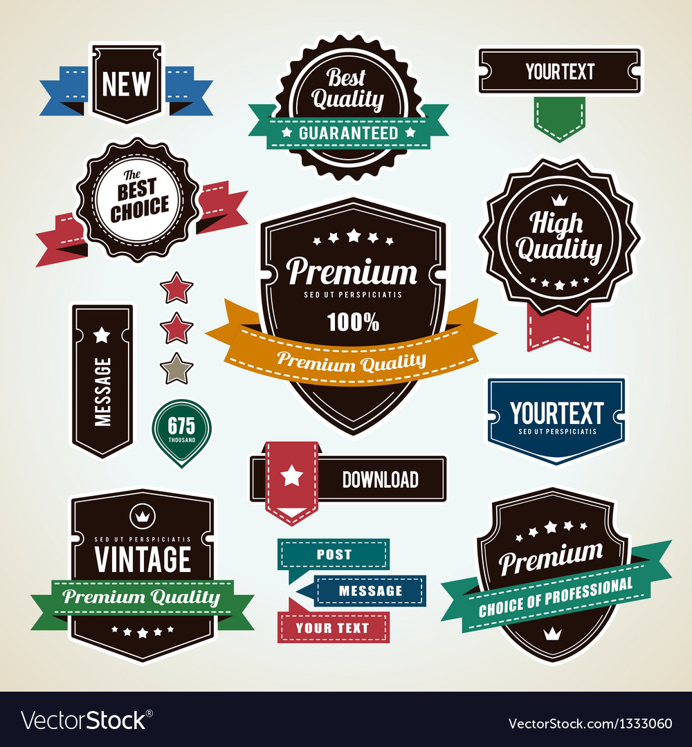 Retro labels 1 vector