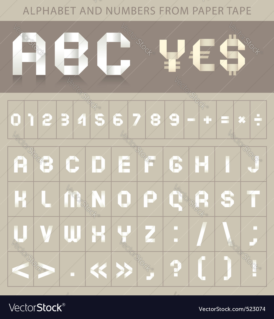 Abc font from paper tape vector