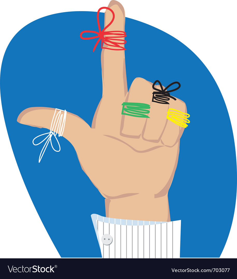 Reminder strings on fingers vector