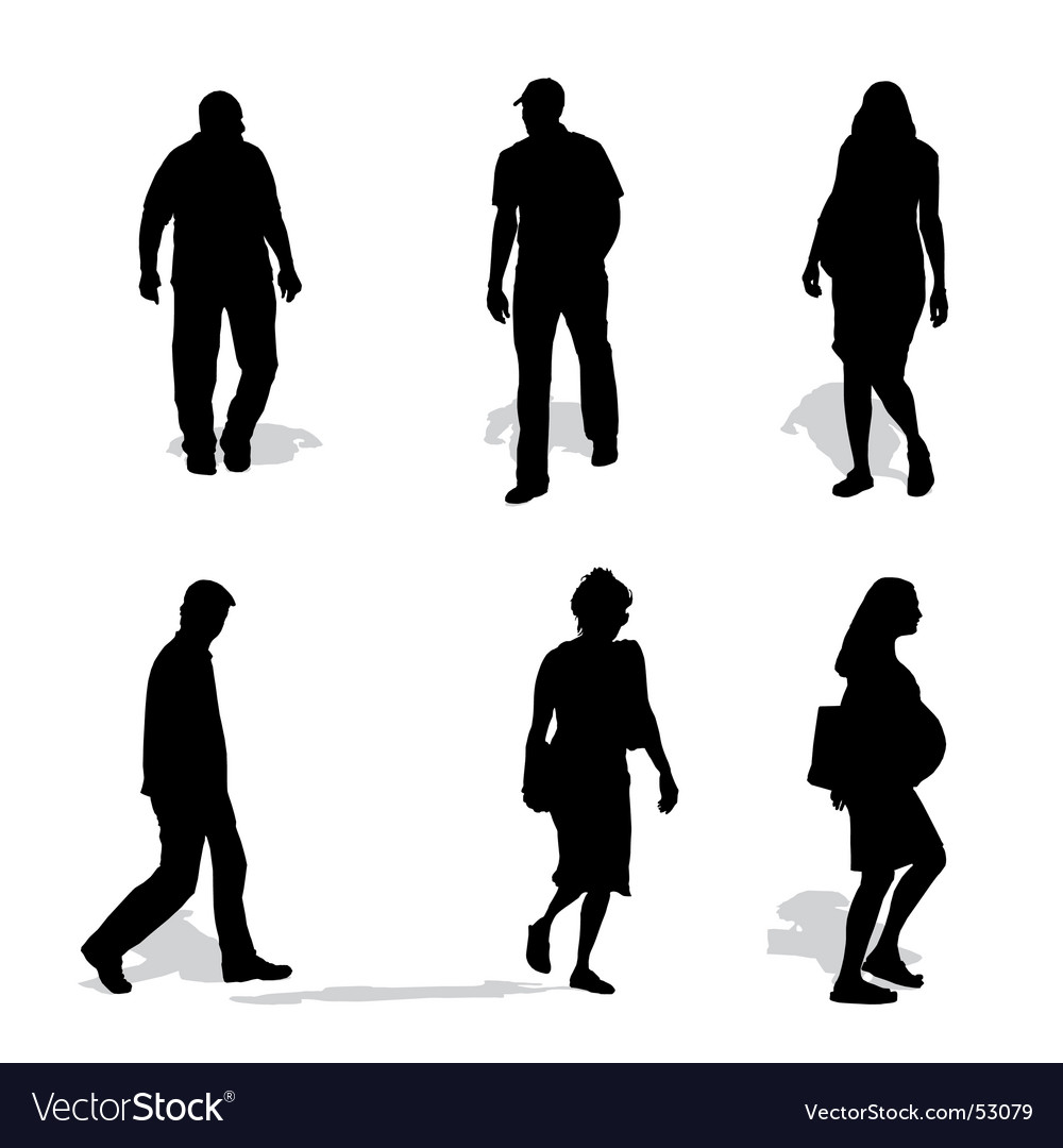 Men and women walking silhouettes vector