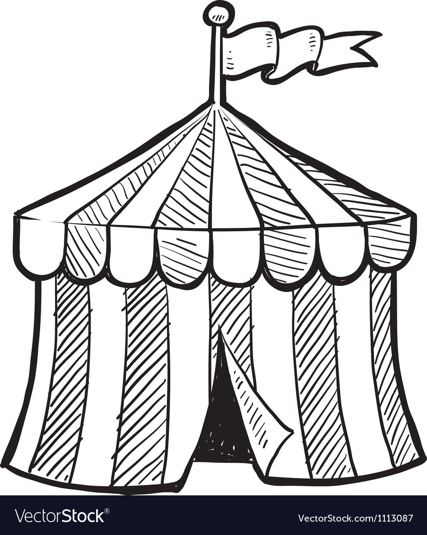 Doodle circus tent vector