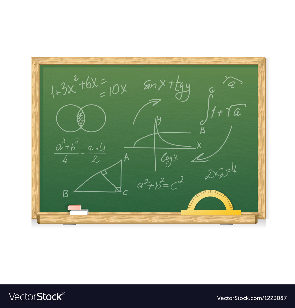 Green chalkboard with mathematics symbols for vector