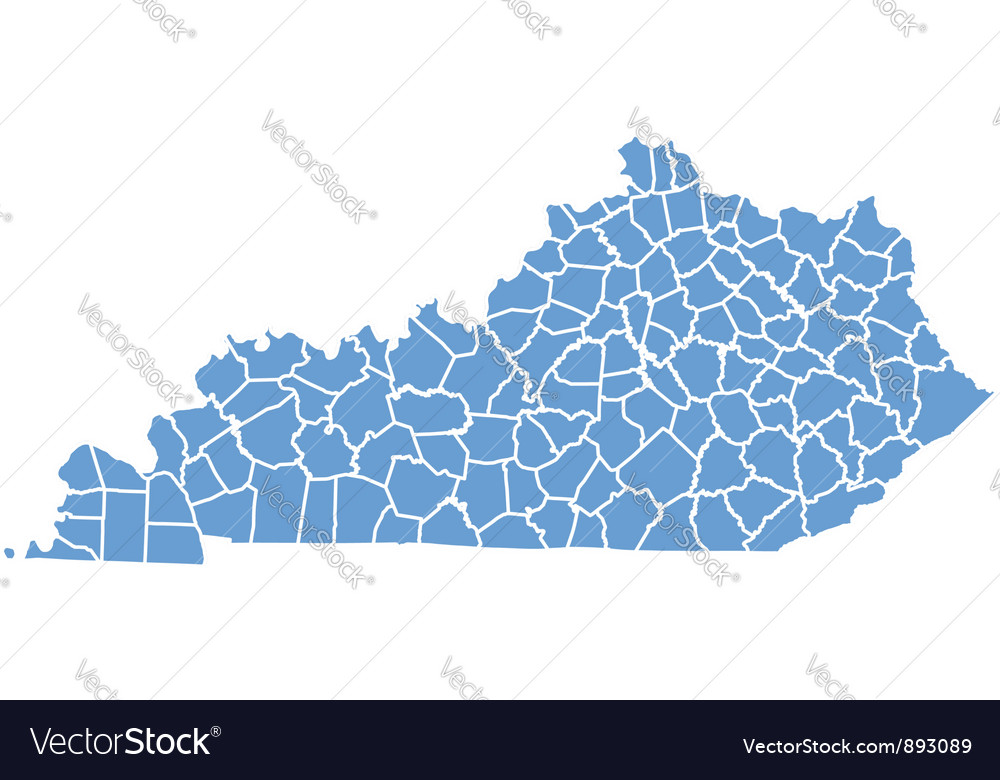 State Map Of Kentucky By Counties Vector By Deskcube