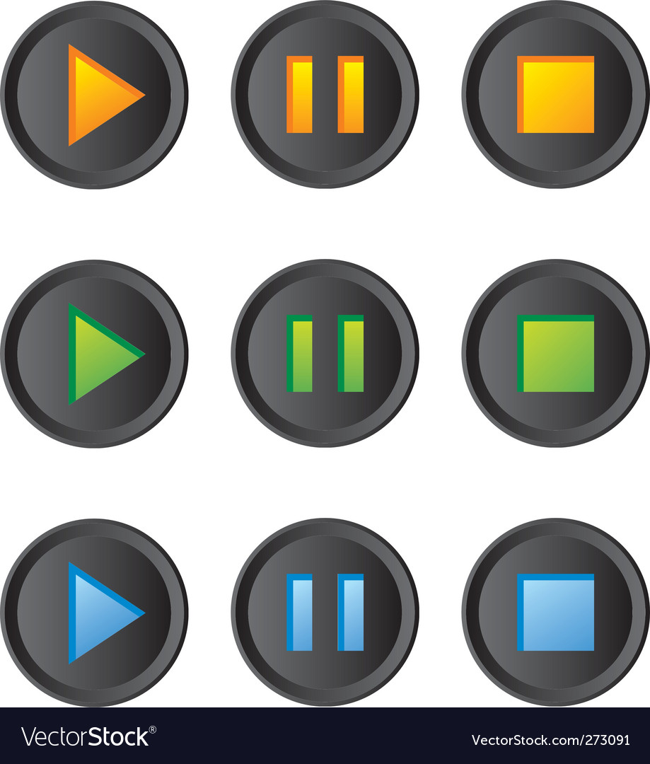 Free music player buttons set vector