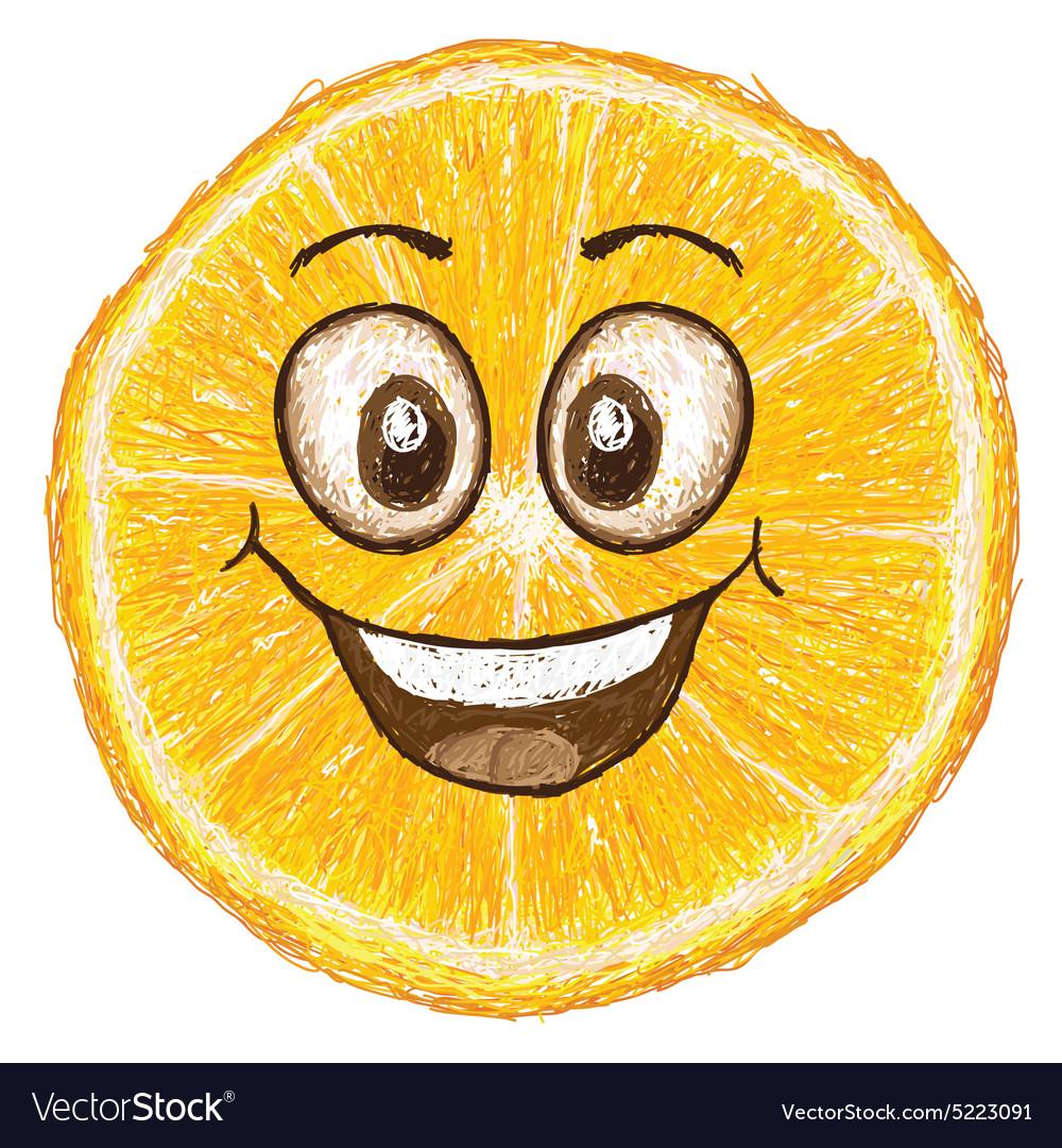 Unique style of happy orange fruit cartoon cross