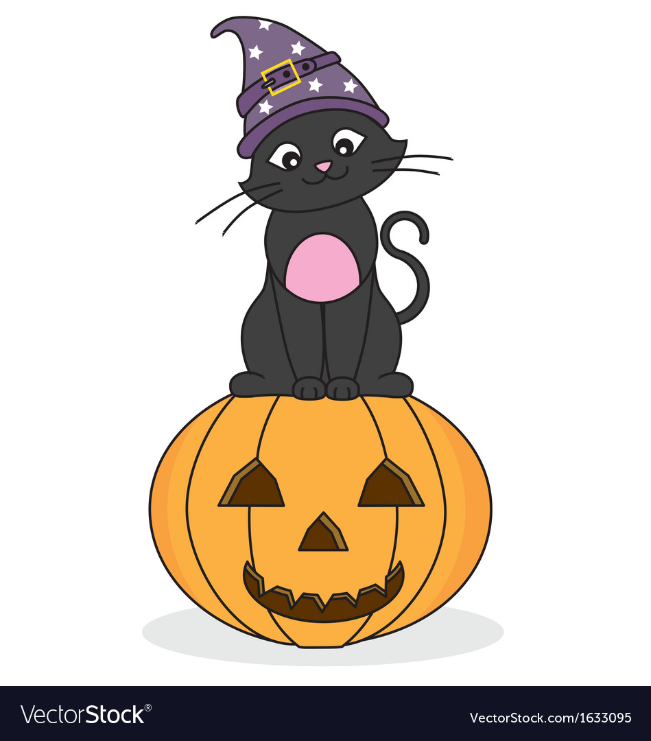 Cat sitting on a pumpkin vector