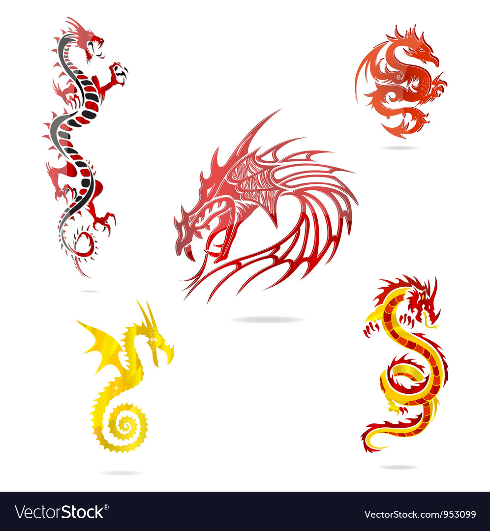Asia colored dragons sign set isolated vector
