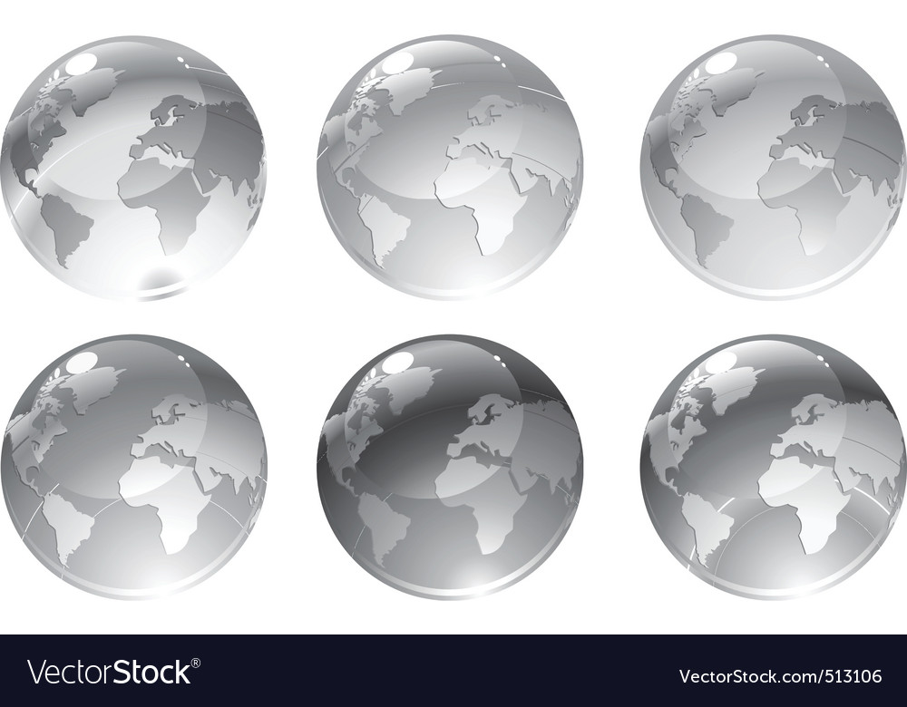 Gray globe icons vector