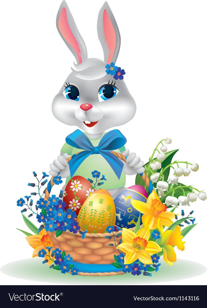 Easter bunny with basket of eggs vector by pinkcoala - Image ...