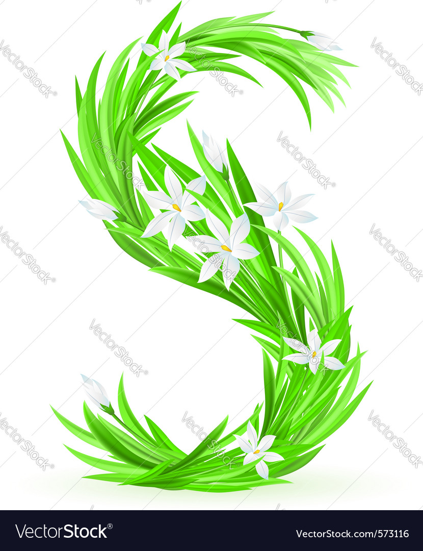 Spring flowers alphabet s vector