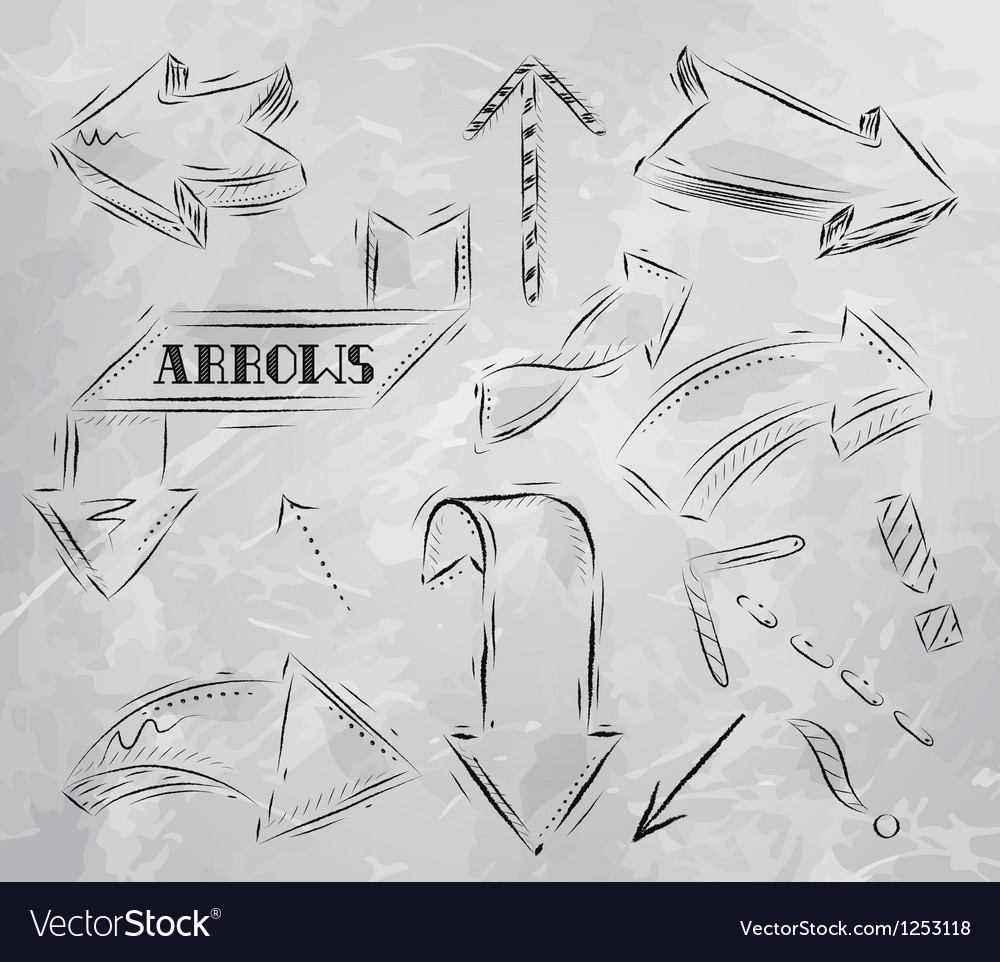 Arrow stylized drawing in charcoal on board vector