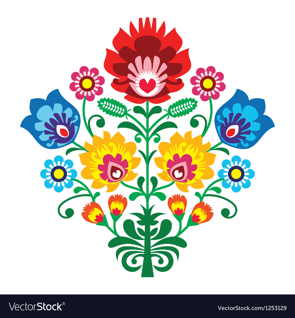 Folk embroidery with flowers  traditional polish vector