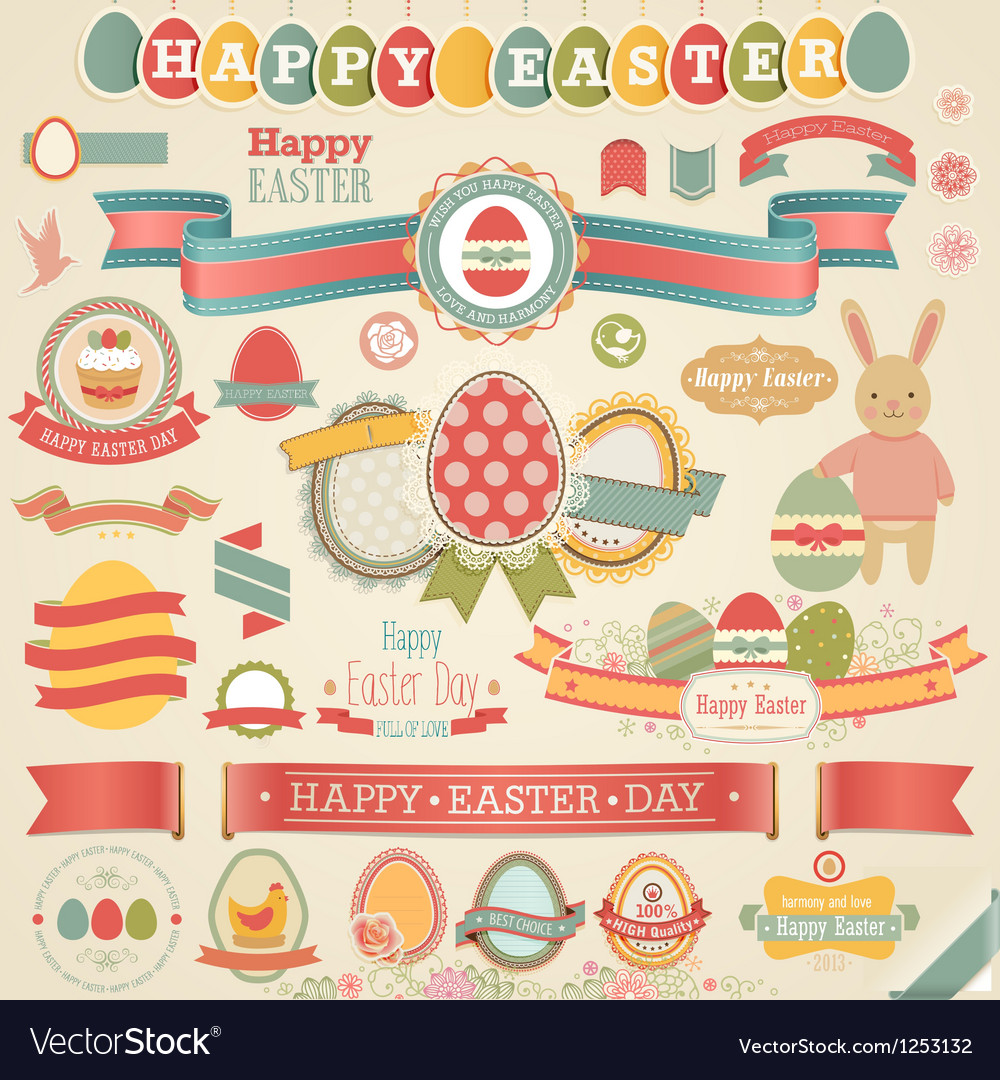 Easter ribbons and objects vector