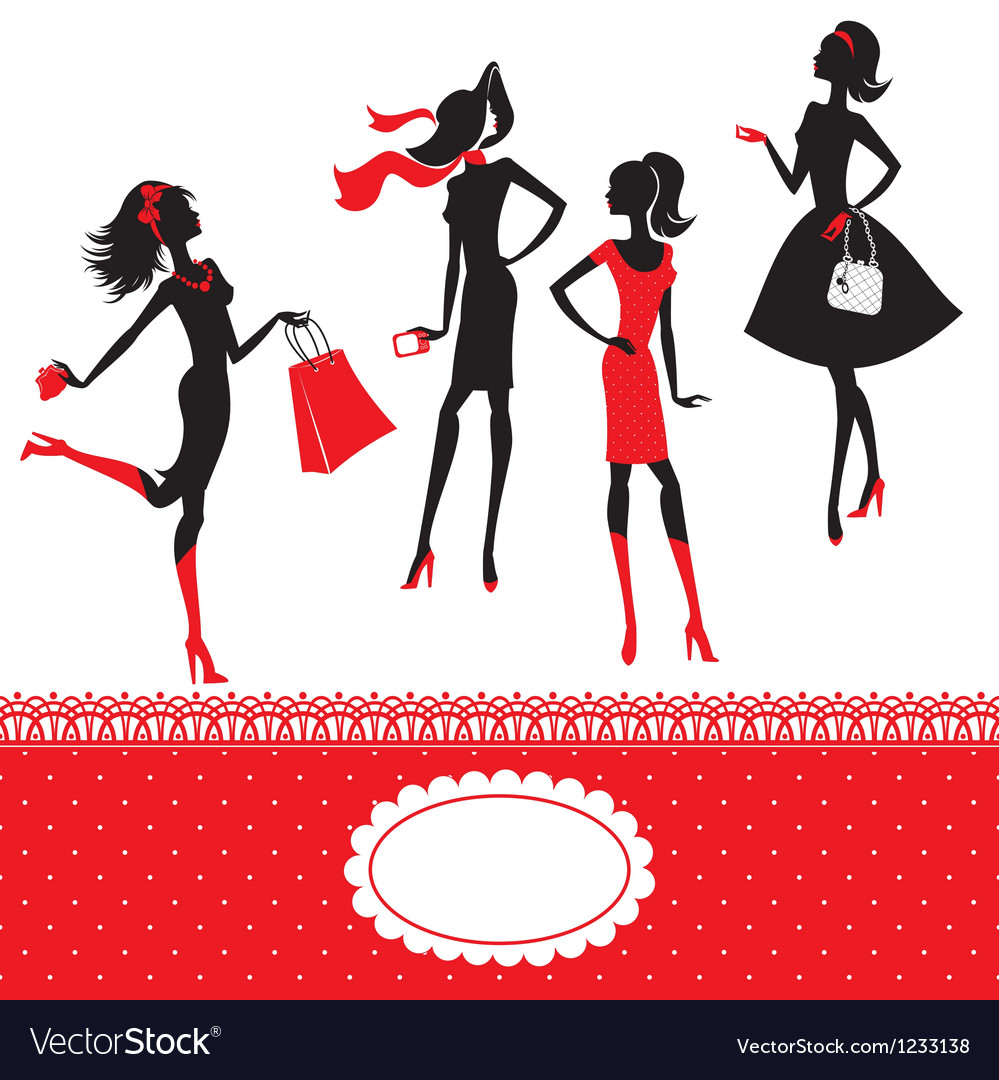Set of silhouettes of fashionable girls on a white vector