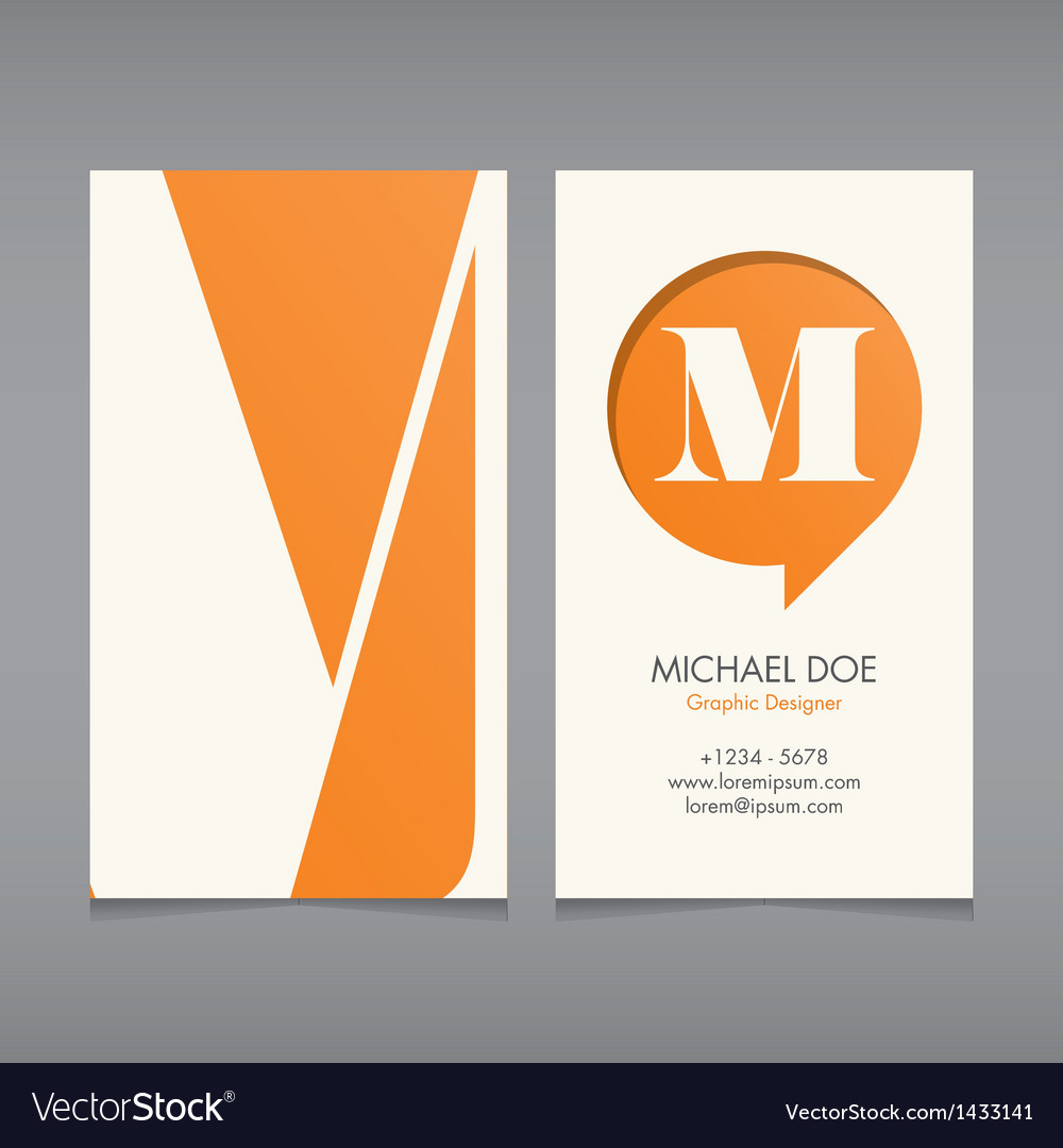 Business card template letter m vector
