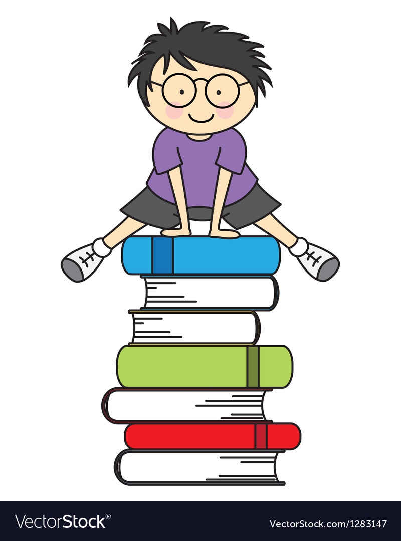 Boy jumping some books vector