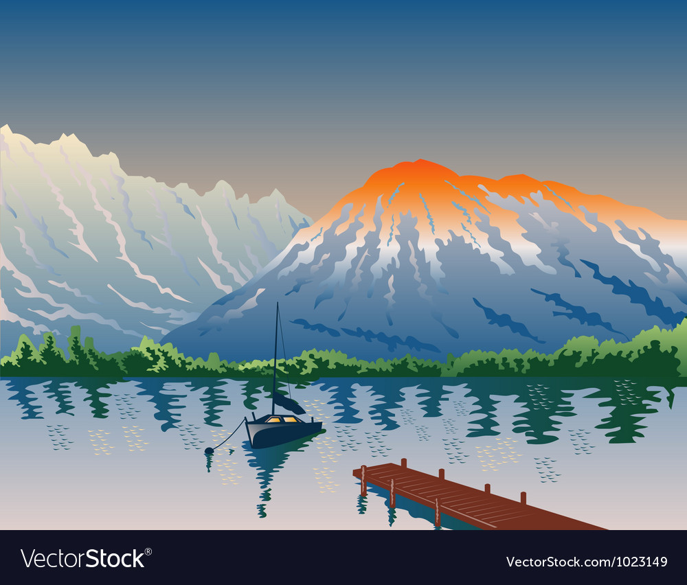 Sailboat jetty mountains retro vector