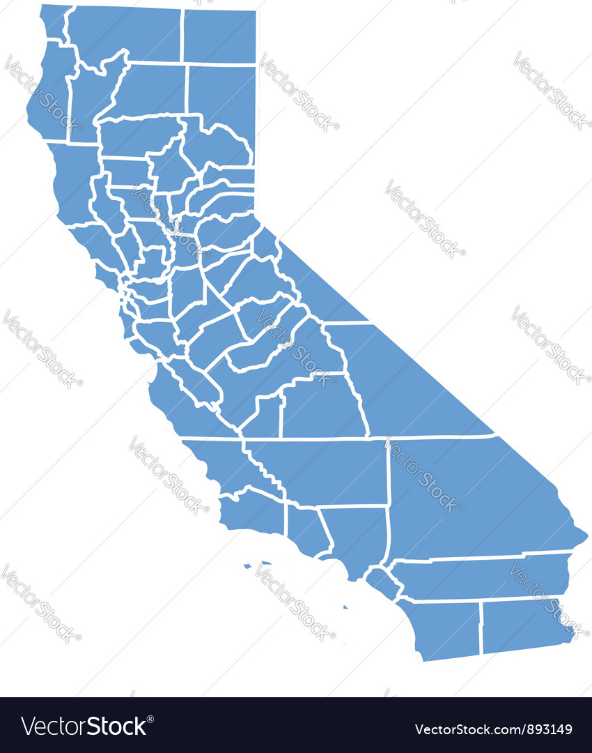 State map of california by counties vector
