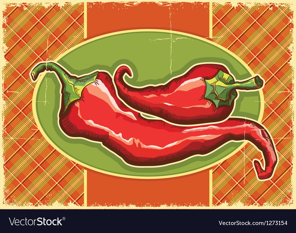Red peppers on vintage label vector